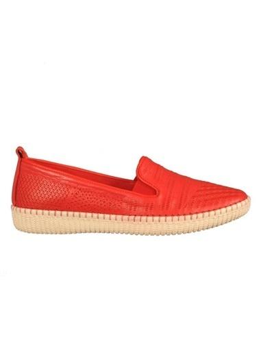 Voyager 7232 Hakiki Deri Siyah Kadın Günlük Ayakkabı Kırmızı